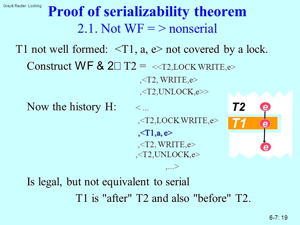 Gray& Reuter: Locking 6-7: 19 Proof of serializability theorem 2.1. Not WF = > nonserial T1 not well formed: not covered by a lock. Construct WF & 2 T