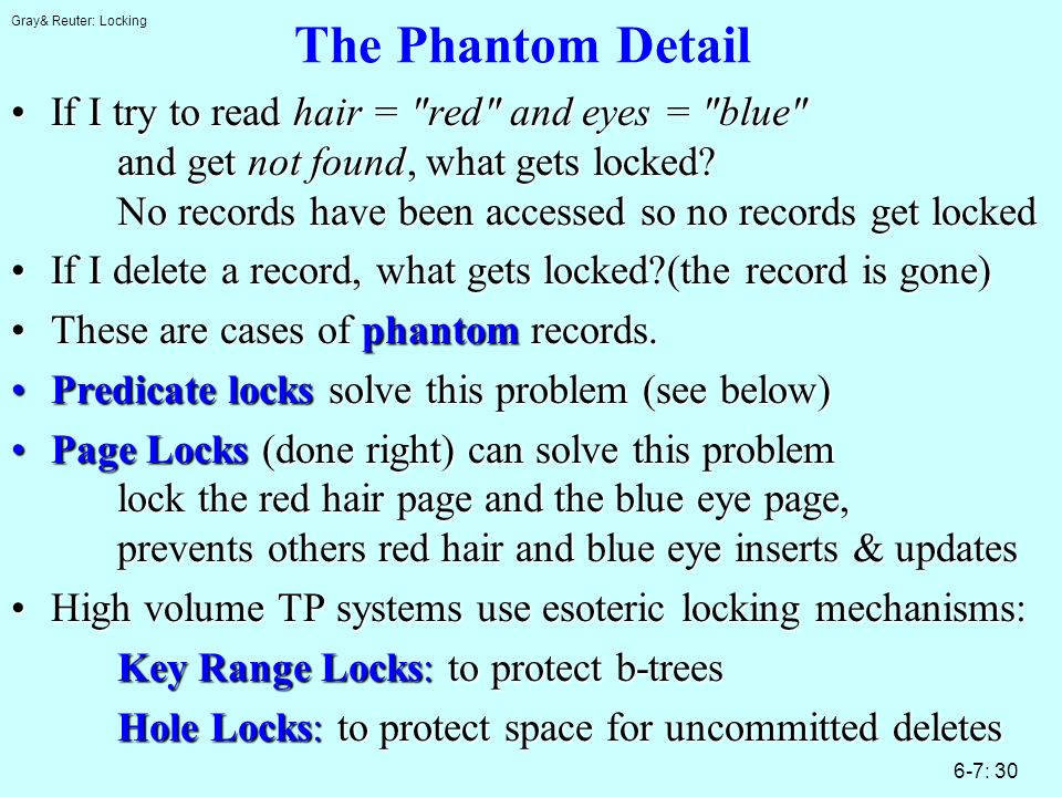 Gray& Reuter: Locking 6-7: 30 The Phantom Detail If I try to read hair =
