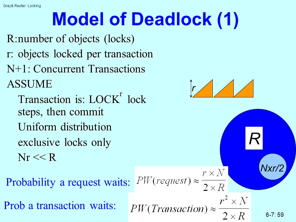 Gray& Reuter: Locking 6-7: 59 Model of Deadlock (1) R:number of objects (locks) r:objects locked per transaction N+1: Concurrent Transactions ASSUME Transaction is: LOCK r lock steps, then commit Uniform distribution exclusive locks only Nr << R r R Nxr/2 Probability a request waits: Prob a transaction waits: