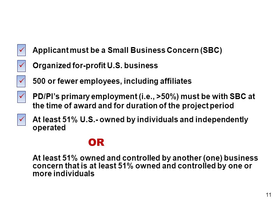 SBIR Eligibility Applicant must be a Small Business Concern (SBC) Organized for-profit U.S.