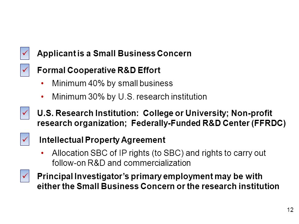 STTR Eligibility Applicant is a Small Business Concern Formal Cooperative R&D Effort Minimum 40% by small business Minimum 30% by U.S.