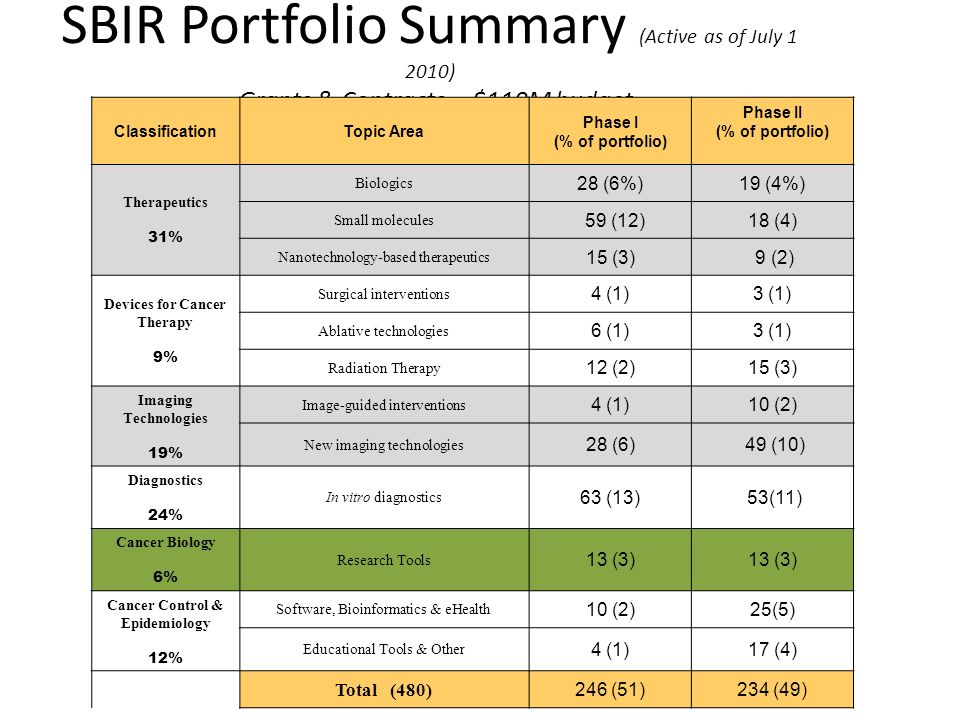 SBIR Portfolio Summary (Active as of July 1 2010) Grants & Contracts -- $110M budget ClassificationTopic Area Phase I (% of portfolio) Phase II (% of portfolio) Therapeutics 31% Biologics 28 (6%)19 (4%) Small molecules 59 (12)18 (4) Nanotechnology-based therapeutics 15 (3) 9 (2) Devices for Cancer Therapy 9% Surgical interventions 4 (1)3 (1) Ablative technologies 6 (1)3 (1) Radiation Therapy 12 (2)15 (3) Imaging Technologies 19% Image-guided interventions 4 (1)10 (2) New imaging technologies 28 (6) 49 (10) Diagnostics 24% In vitro diagnostics 63 (13) 53(11) Cancer Biology 6% Research Tools 13 (3) Cancer Control & Epidemiology 12% Software, Bioinformatics & eHealth 10 (2)25(5) Educational Tools & Other 4 (1)17 (4) Total (480) 246 (51)234 (49)