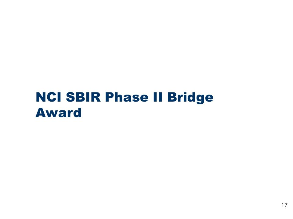 17 NCI SBIR Phase II Bridge Award