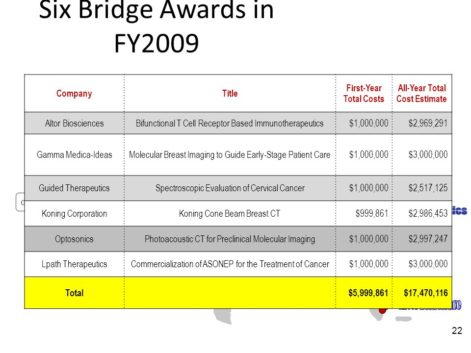 Six Bridge Awards in FY2009 CompanyTitle First-Year Total Costs All-Year Total Cost Estimate Altor BiosciencesBifunctional T Cell Receptor Based Immunotherapeutics$1,000,000$2,969,291 Gamma Medica-IdeasMolecular Breast Imaging to Guide Early-Stage Patient Care$1,000,000$3,000,000 Guided TherapeuticsSpectroscopic Evaluation of Cervical Cancer$1,000,000$2,517,125 Koning CorporationKoning Cone Beam Breast CT$999,861$2,986,453 OptosonicsPhotoacoustic CT for Preclinical Molecular Imaging$1,000,000$2,997,247 Lpath TherapeuticsCommercialization of ASONEP for the Treatment of Cancer$1,000,000$3,000,000 Total$5,999,861$17,470,116 22