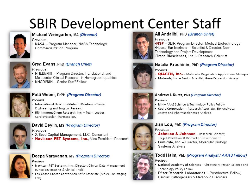 SBIR Development Center Staff Ali Andalibi, PhD (Branch Chief) Previous NSF – SBIR Program Director, Medical Biotechnology House Ear Institute – Scientist & Director, New Technology and Project Development Trega Biosciences, Inc.