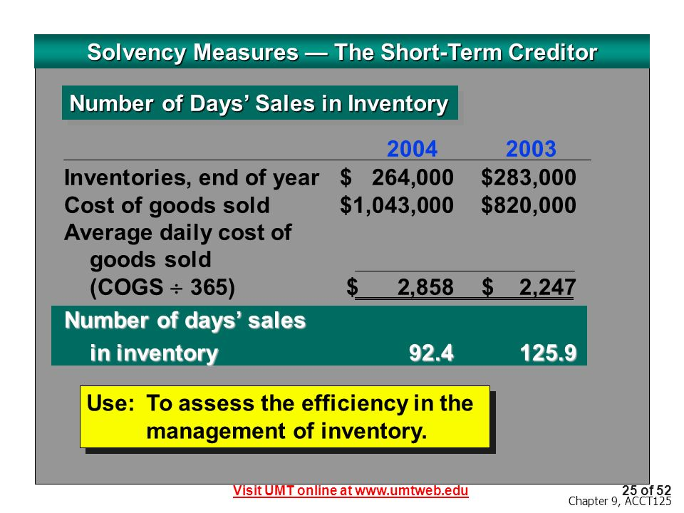 Visit UMT online at www.umtweb.edu25 of 52 Chapter 9, ACCT125 Solvency Measures The Short-Term Creditor Number of Days Sales in Inventory Use:To assess the efficiency in the management of inventory.