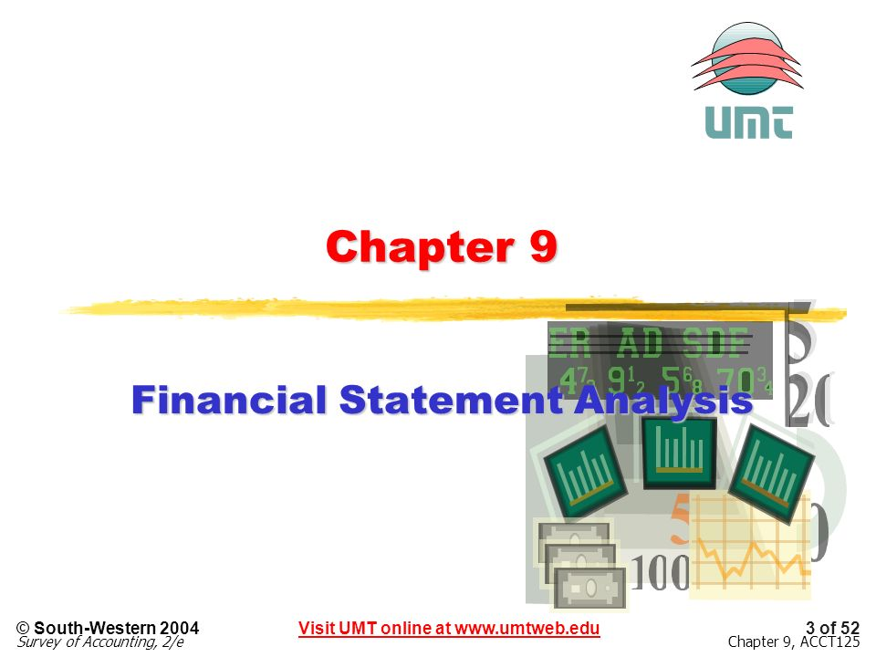 3 of 52Visit UMT online at www.umtweb.edu© South-Western 2004 Survey of Accounting, 2/eChapter 9, ACCT125 Chapter 9 Financial Statement Analysis