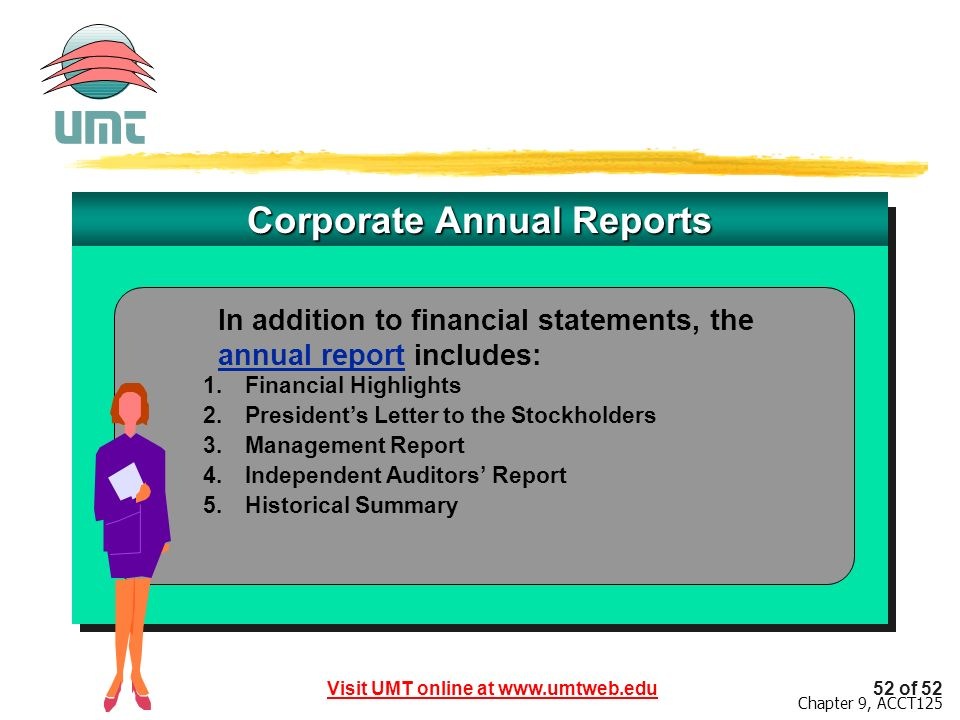 Visit UMT online at www.umtweb.edu52 of 52 Chapter 9, ACCT125 Corporate Annual Reports 1.