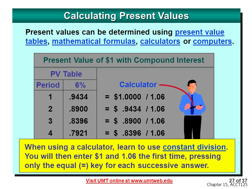 Visit UMT online at www.umtweb.edu27 of 37 Chapter 15, ACCT125 Calculating Present Values Present values can be determined using present value tables, mathematical formulas, calculators or computers.