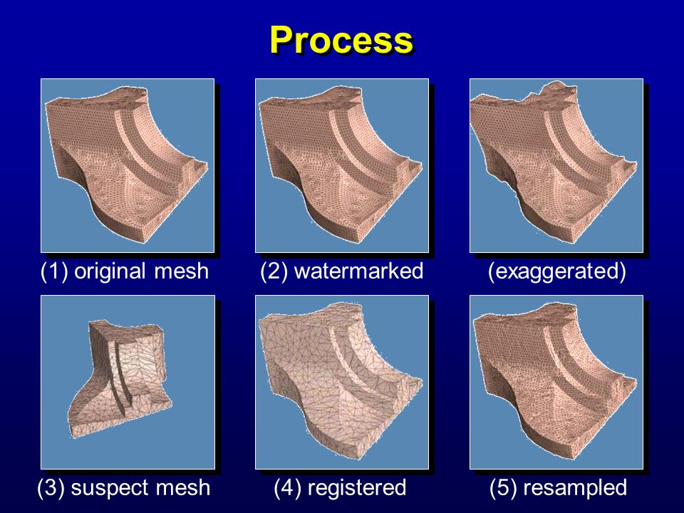 Process (1) original mesh(2) watermarked(exaggerated) (3) suspect mesh(4) registered(5) resampled