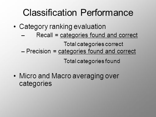 Classification Performance Category ranking evaluation – Recall = categories found and correct –Precision = categories found and correct Micro and Macro averaging over categories Total categories correct Total categories found