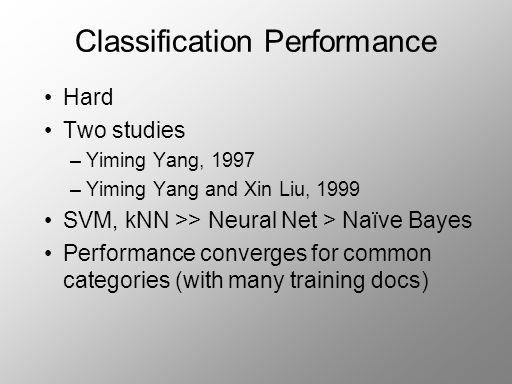 Classification Performance Hard Two studies –Yiming Yang, 1997 –Yiming Yang and Xin Liu, 1999 SVM, kNN >> Neural Net > Naïve Bayes Performance converges for common categories (with many training docs)
