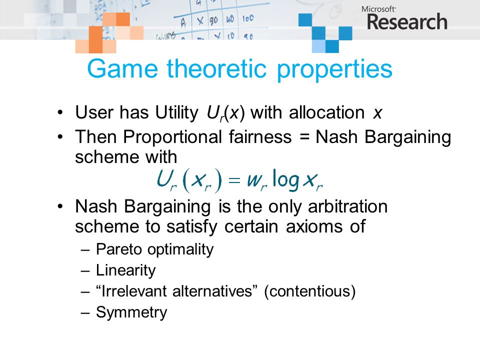 Game theoretic properties User has Utility U r (x) with allocation x Then Proportional fairness = Nash Bargaining scheme with Nash Bargaining is the o