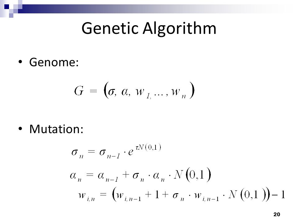 20 Genetic Algorithm Genome: Mutation: