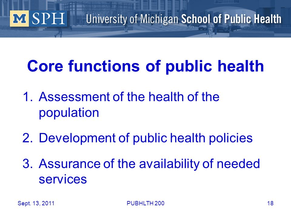 Core functions of public health 1.Assessment of the health of the population 2.Development of public health policies 3.Assurance of the availability o