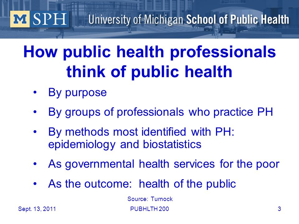 How public health professionals think of public health By purpose By groups of professionals who practice PH By methods most identified with PH: epide