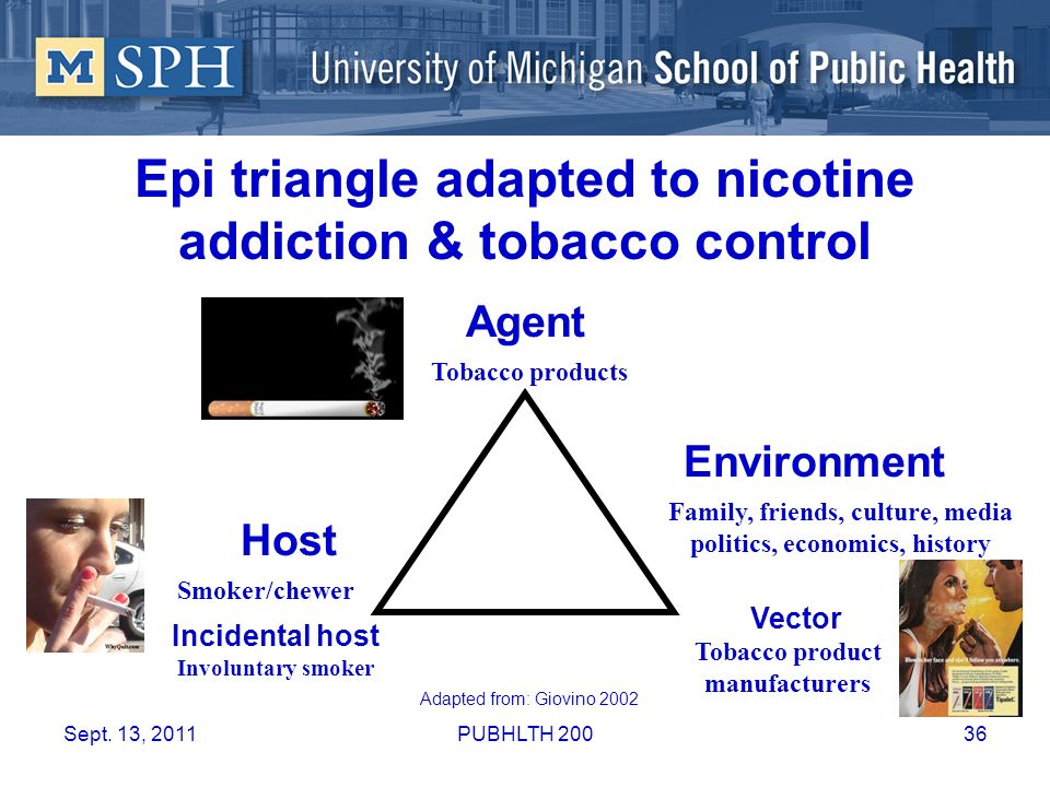 Epi triangle adapted to nicotine addiction & tobacco control Agent Vector Host Tobacco products Tobacco product manufacturers Smoker/chewer Incidental