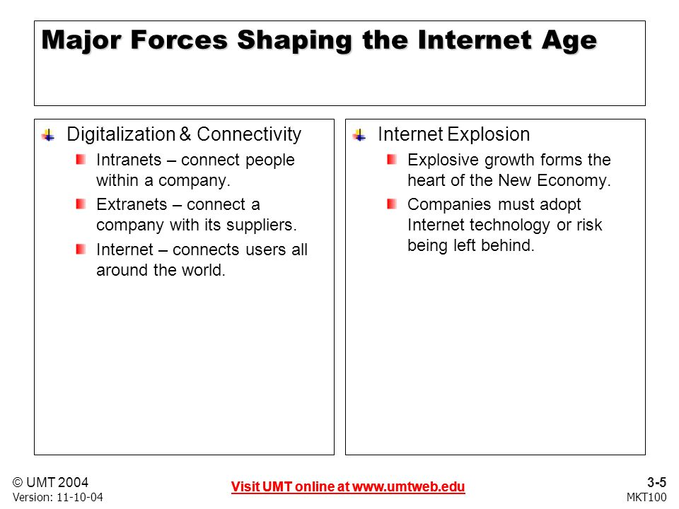 3-5 Visit UMT online at   © UMT 2004 MKT100 Visit UMT online at   Version: Visit UMT online at   Major Forces Shaping the Internet Age Digitalization & Connectivity Intranets – connect people within a company.
