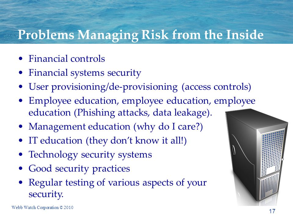 Webb Watch Corporation © 2010 Problems Managing Risk from the Inside Financial controls Financial systems security User provisioning/de-provisioning (