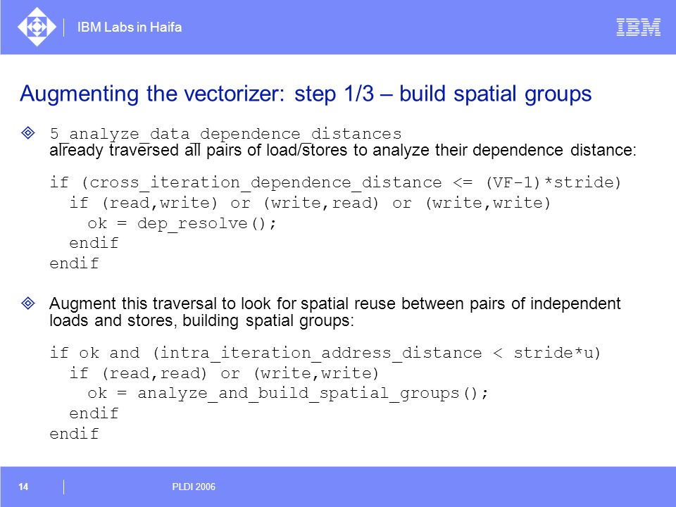 IBM Labs in Haifa 14 PLDI 2006 Augmenting the vectorizer: step 1/3 – build spatial groups 5_analyze_data_dependence_distances already traversed all pa