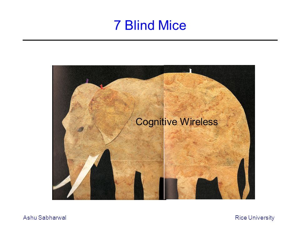 Ashu SabharwalRice University 7 Blind Mice Cognitive Wireless