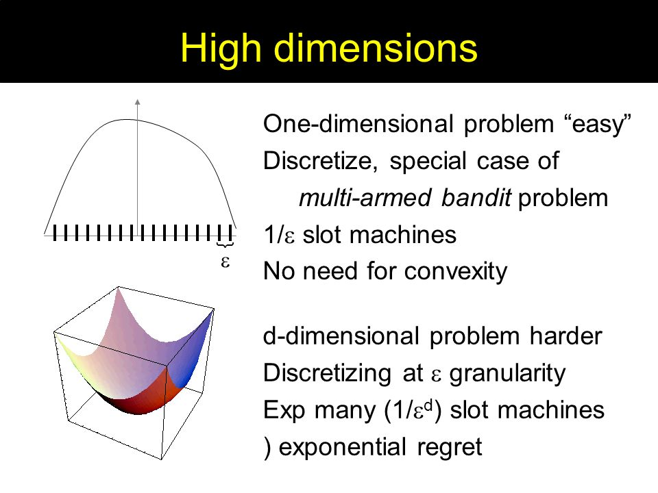 One-dimensional problem easy Discretize, special case of multi-armed bandit problem 1/ slot machines No need for convexity d-dimensional problem harder Discretizing at granularity Exp many (1/ d ) slot machines ) exponential regret } High dimensions
