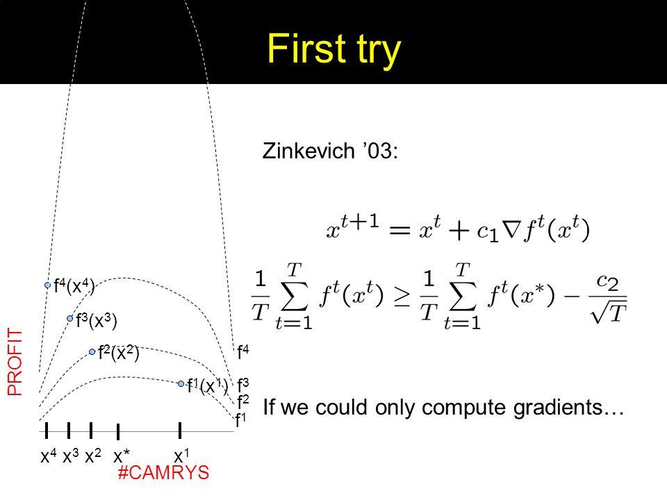 First try x1x1 f 1 (x 1 ) PROFIT #CAMRYS x2x2 f 2 (x 2 ) x3x3 f 3 (x 3 ) x4x4 f 4 (x 4 ) f1f1 f2f2 f3f3 f4f4 Zinkevich 03: If we could only compute gr