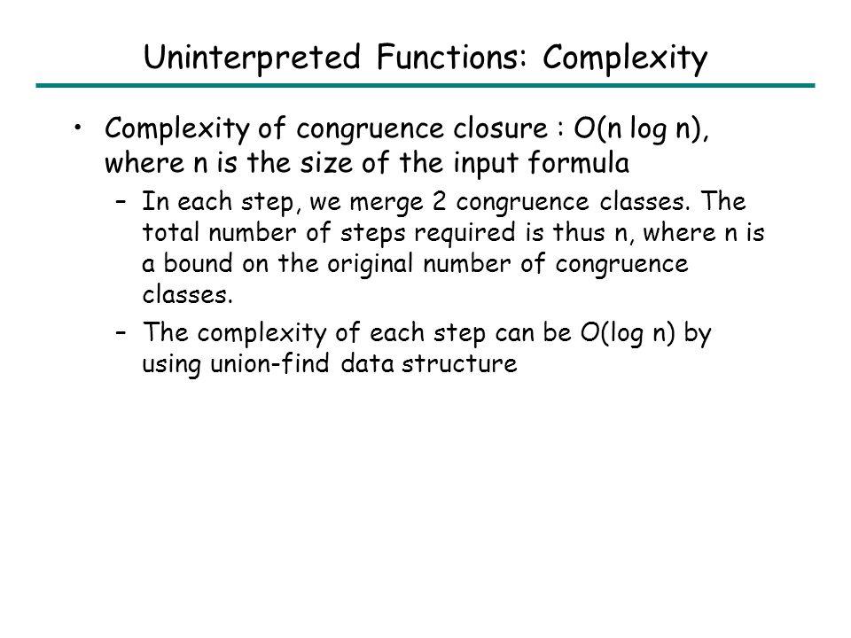 Uninterpreted Functions: Example y F F F F F y=F 3 (y) F(y)=F 4 (y) F 2 (y)=F 5 (y) y=F 2 (y) y=F 5 (y)y F(y) F(y)=F 3 (y) y=F(y) .