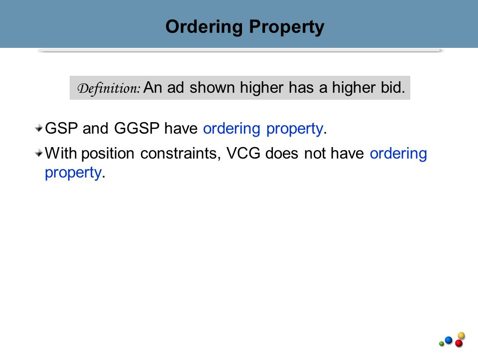Ordering Property GSP and GGSP have ordering property.
