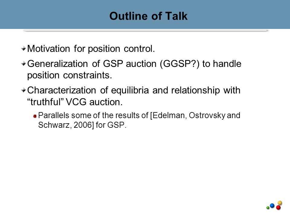 Outline of Talk Motivation for position control.