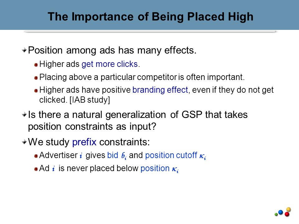 The Importance of Being Placed High Position among ads has many effects.