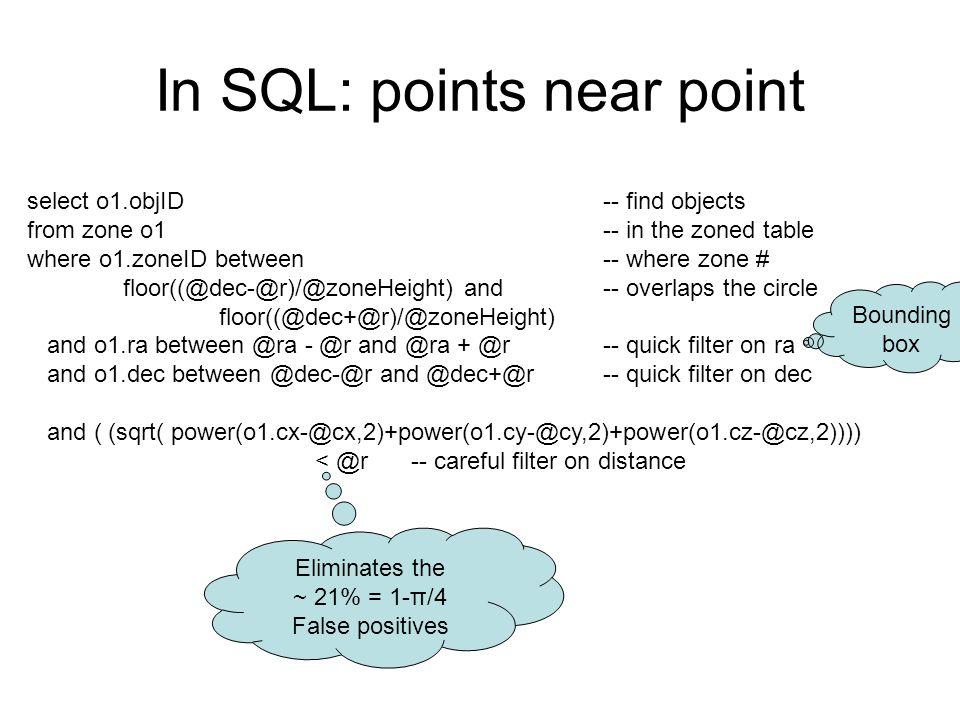 In SQL: points near point select o1.objID -- find objects from zone o1 -- in the zoned table where o1.zoneID between -- where zone # floor((@dec-@r)/@zoneHeight) and-- overlaps the circle floor((@dec+@r)/@zoneHeight) and o1.ra between @ra - @r and @ra + @r-- quick filter on ra and o1.dec between @dec-@r and @dec+@r -- quick filter on dec and ( (sqrt( power(o1.cx-@cx,2)+power(o1.cy-@cy,2)+power(o1.cz-@cz,2)))) < @r -- careful filter on distance Eliminates the ~ 21% = 1-π/4 False positives Bounding box