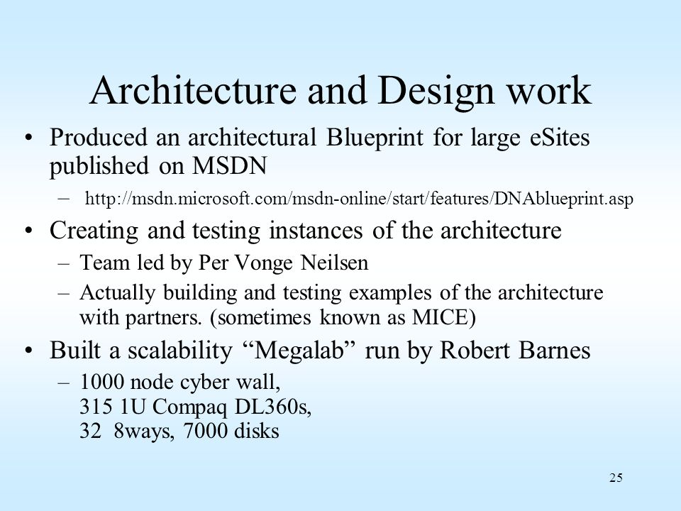 25 Architecture and Design work Produced an architectural Blueprint for large eSites published on MSDN – http://msdn.microsoft.com/msdn-online/start/f