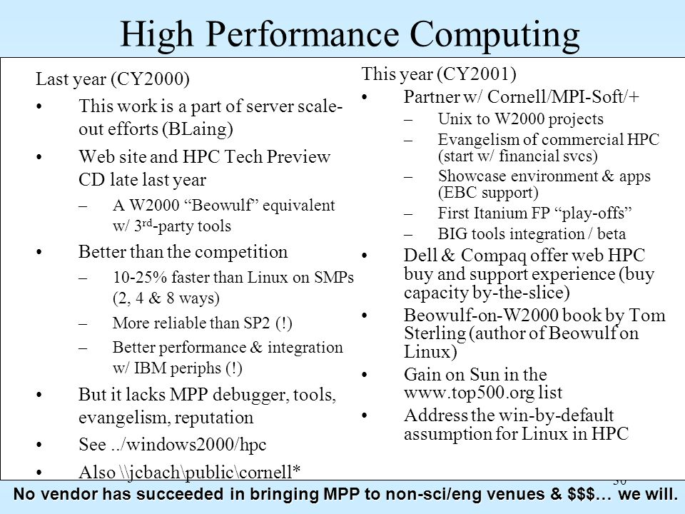 30 High Performance Computing Last year (CY2000) This work is a part of server scale- out efforts (BLaing) Web site and HPC Tech Preview CD late last