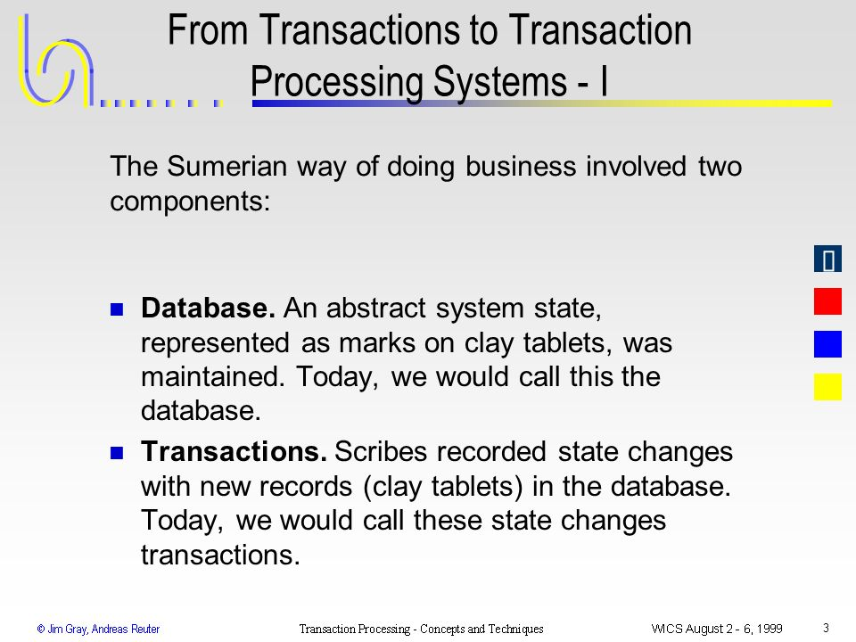 3 From Transactions to Transaction Processing Systems - I n Database. An abstract system state, represented as marks on clay tablets, was maintained.