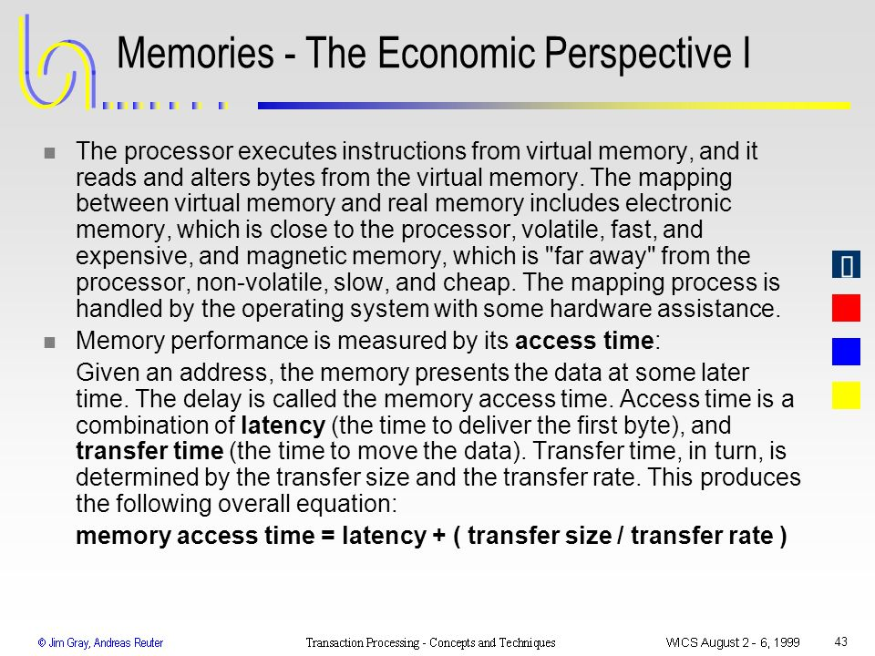 43 Memories - The Economic Perspective I n The processor executes instructions from virtual memory, and it reads and alters bytes from the virtual mem