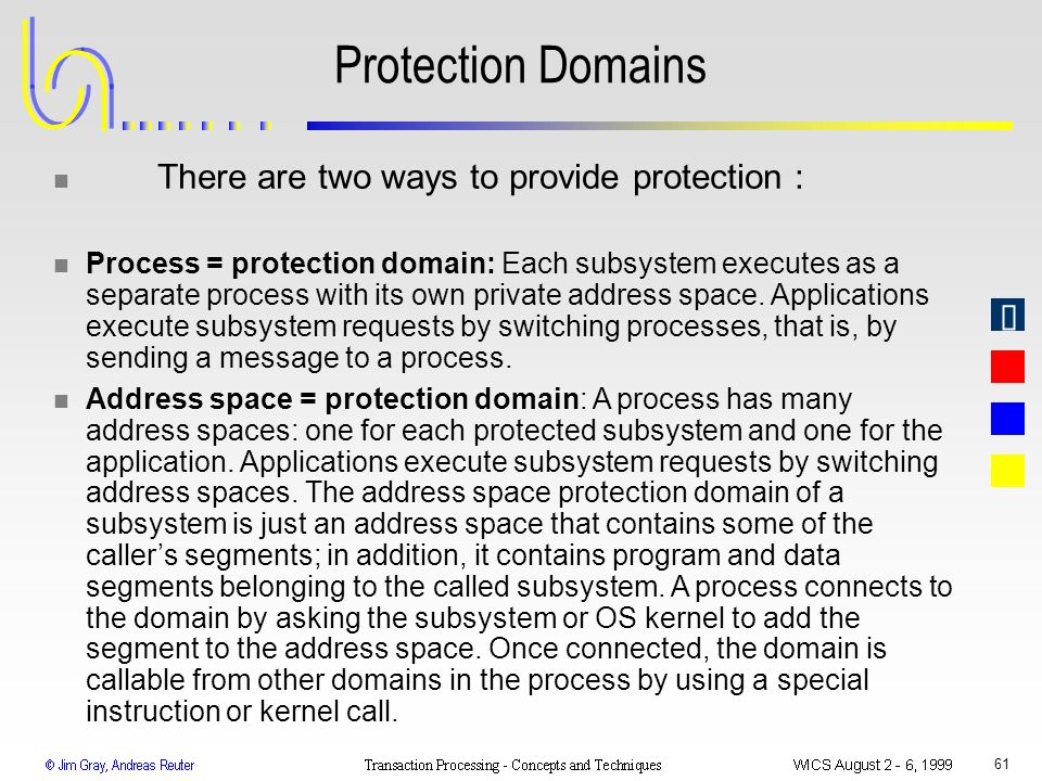 61 Protection Domains n There are two ways to provide protection : n Process = protection domain: Each subsystem executes as a separate process with i