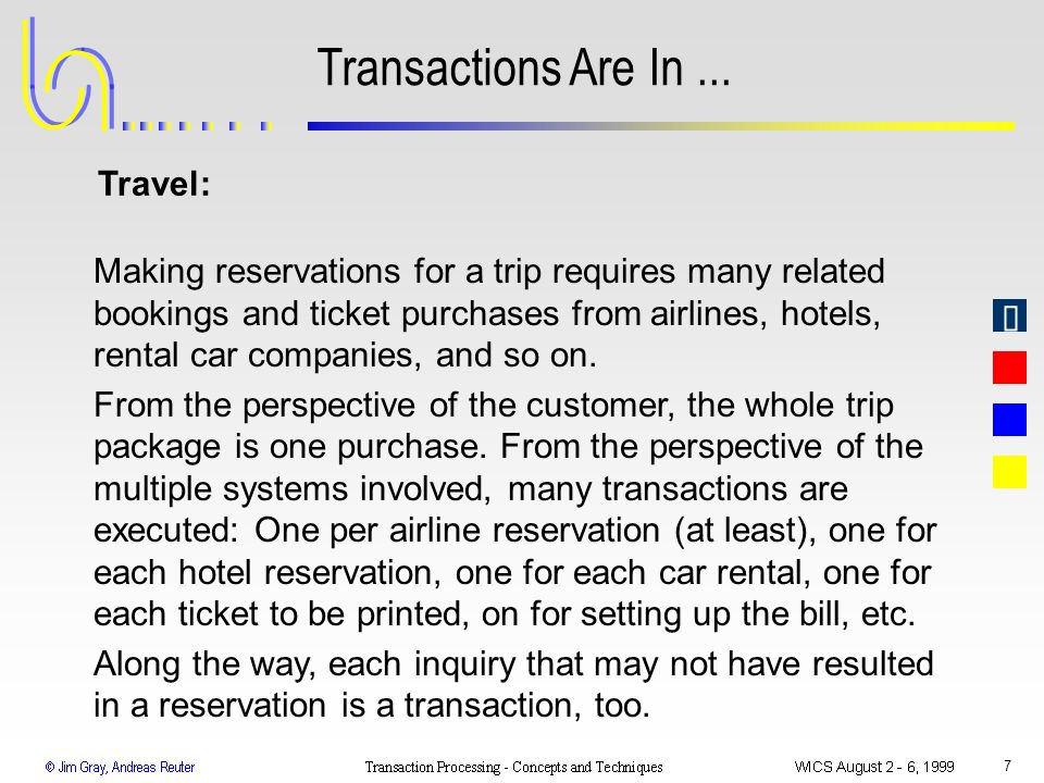 7 Transactions Are In... Making reservations for a trip requires many related bookings and ticket purchases from airlines, hotels, rental car companie