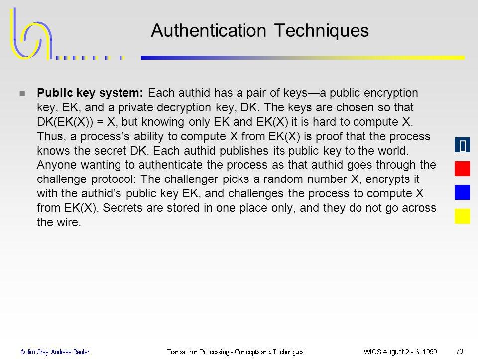 73 Authentication Techniques n Public key system: Each authid has a pair of keysa public encryption key, EK, and a private decryption key, DK. The key