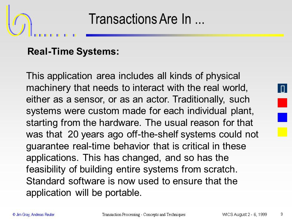 9 Transactions Are In... This application area includes all kinds of physical machinery that needs to interact with the real world, either as a sensor