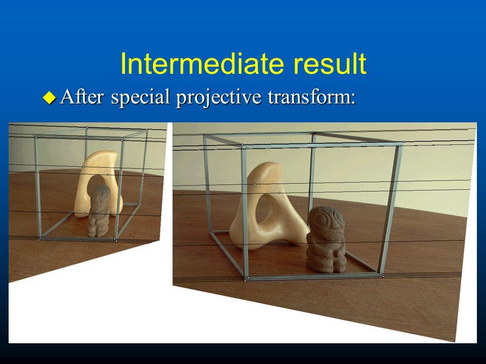 Intermediate result u After special projective transform: