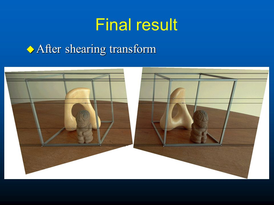 Final result u After shearing transform