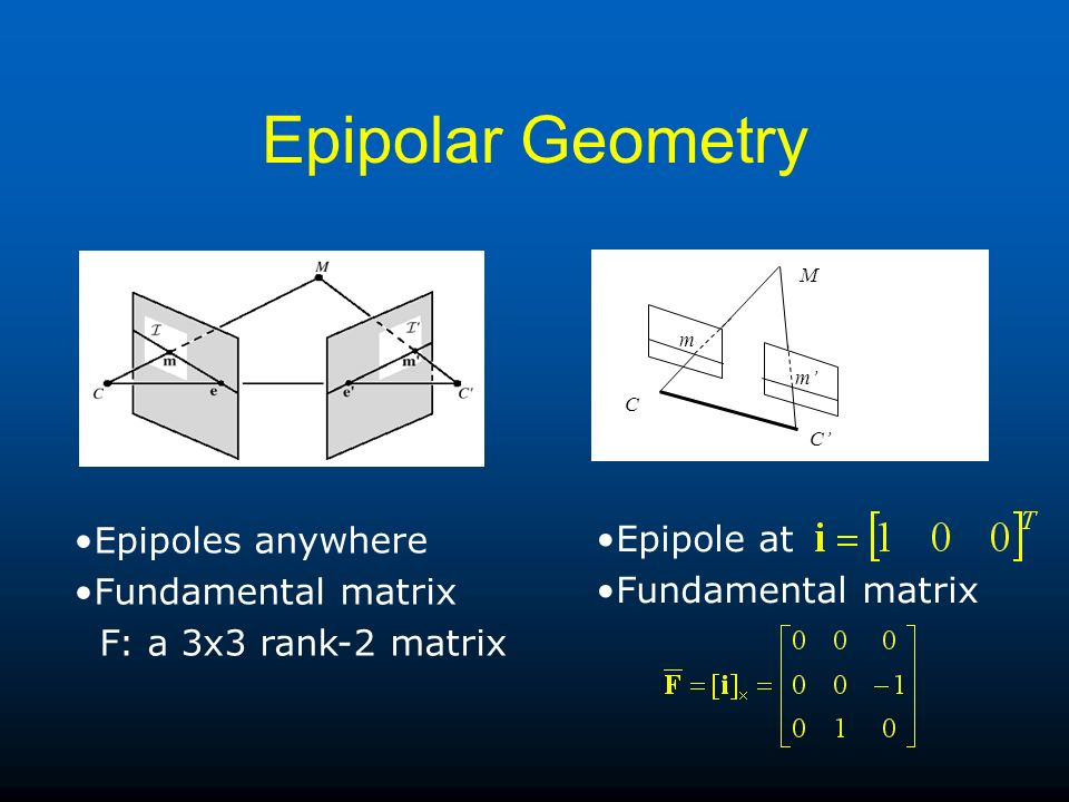 Epipolar Geometry M C C m m Epipoles anywhere Fundamental matrix F: a 3x3 rank-2 matrix Epipole at Fundamental matrix
