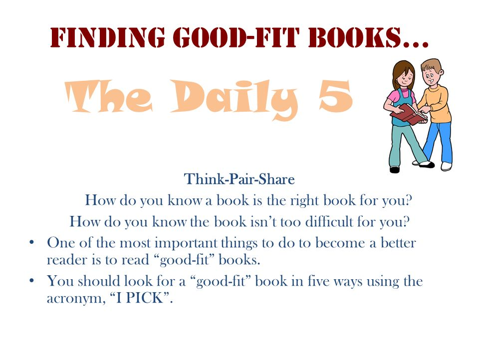 Finding Good-Fit Books… Think-Pair-Share How do you know a book is the right book for you? How do you know the book isnt too difficult for you? One of