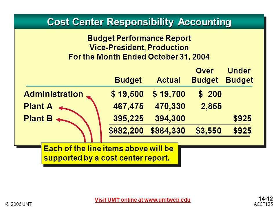 Visit UMT online at ACCT125© 2006 UMT Budget Performance Report Vice-President, Production For the Month Ended October 31, 2004 OverUnder BudgetActualBudgetBudget Administration$ 19,500$ 19,700$ 200 Plant A467,475470,3302,855 Plant B395,225394,300$925 $882,200$884,330$3,550$925 Each of the line items above will be supported by a cost center report.