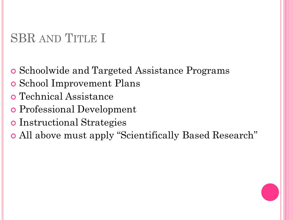 SBR AND T ITLE I Schoolwide and Targeted Assistance Programs School Improvement Plans Technical Assistance Professional Development Instructional Strategies All above must apply Scientifically Based Research