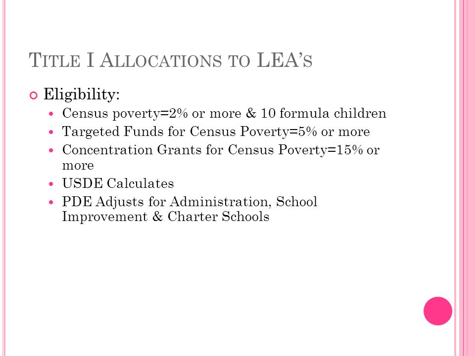 T ITLE I A LLOCATIONS TO LEA S Eligibility: Census poverty=2% or more & 10 formula children Targeted Funds for Census Poverty=5% or more Concentration Grants for Census Poverty=15% or more USDE Calculates PDE Adjusts for Administration, School Improvement & Charter Schools