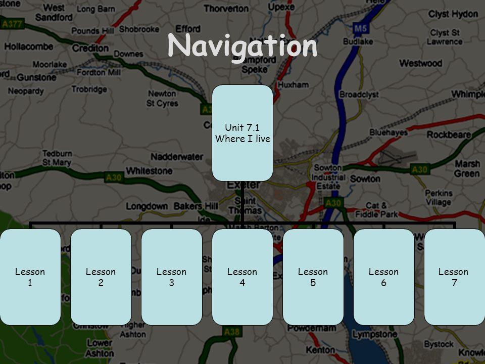 Navigation Unit 7.1 Where I live Lesson 1 Lesson 2 Lesson 3 Lesson 4 Lesson 5 Lesson 6 Lesson 7