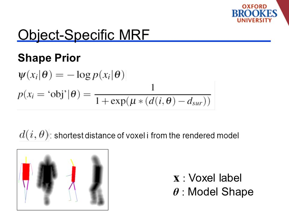Object-Specific MRF Shape Prior x : Voxel label θ : Model Shape : shortest distance of voxel i from the rendered model