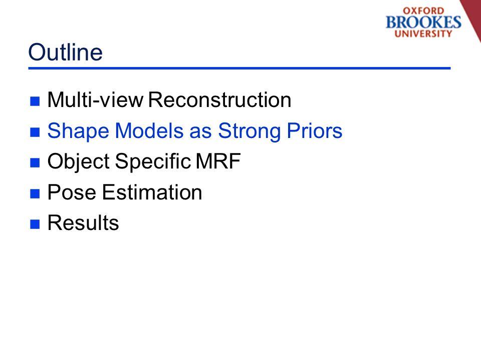 Shape-Priors for Segmentation n OBJ-CUT [Kumar et al., CVPR 05] Integrate Shape Priors in a MRF n POSE-CUT [Bray et al., ECCV 06] Efficient Inference of Model Parameters